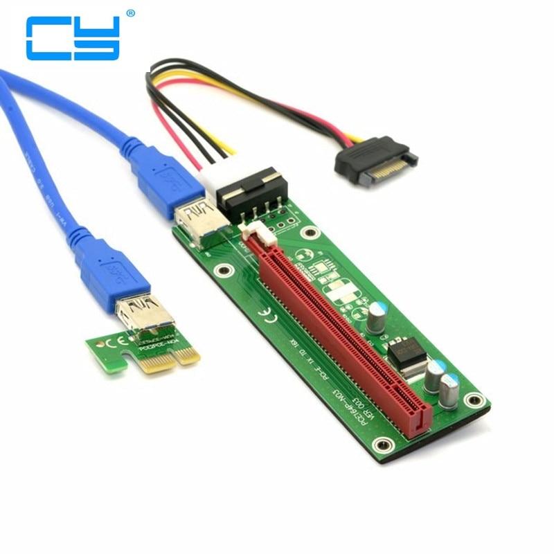 Extensor de tarjeta elevadora USB 3,0, Adaptador de alimentación SATA 15 Pin-4Pin, PCI-E Express 1x a 16x, Azul, 60 CM