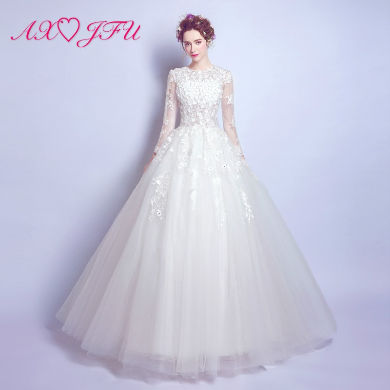 AXJFU vestido de novia flores de encaje princesa novia de manga larga cuidadosamente vendado vestido de novia nuevo 2118