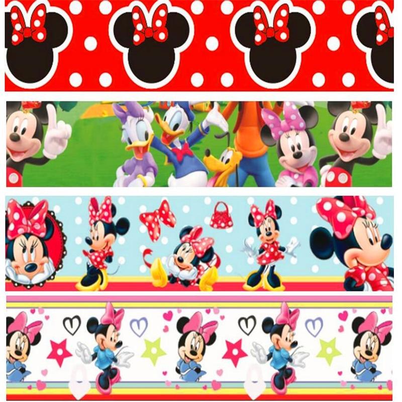 16 25 38 50 75mm de ancho Mickey Minnie impreso cinta de grosgrain de poliéster o satén cinta MR12