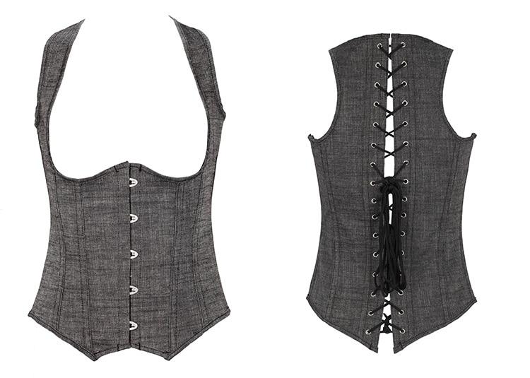 Women  Denim Jean Corset vest shaper Waist cincher Slimming Shapewear Bodysuit Underbust Corset QF840