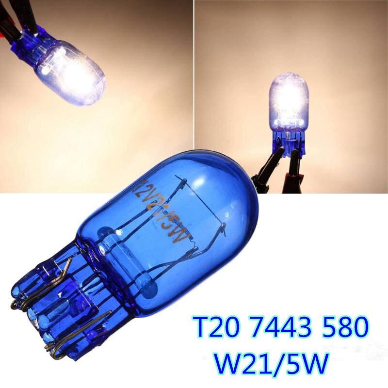Lámparas de 10 Uds. 7443 W21 T20 580/5W 12V W3x16q, luz trasera de freno de cristal azul Natural, bombillas laterales de señal de coche, lámparas blancas