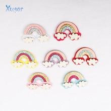 Xugar New 7pcs/lot Felt Fabric Paillette Glitter Cloud Rainbow Appliques wedding DIY Sewing Patchs craft hair bows accessories