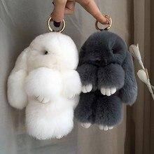 Fluffy Real Rabbit Fur Pompon Bunny KeychainTrinket Women Toy Pompom Rabbit Key Ring Car Key Chain J