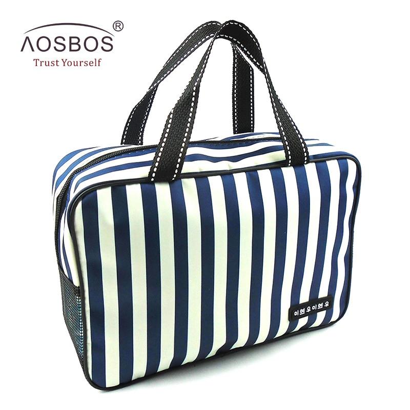 Aosbos nova malha listrado cosméticos sacos de grande capacidade à prova doxford água oxford tote bolsa de higiene pessoal bolsa de viagem