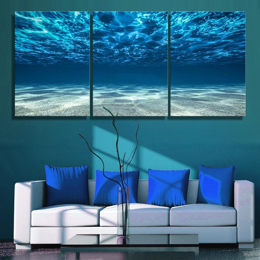 Картина из 3 панелей, парусина с принтом в виде голубой морской стены, вид на море, вид на дно, приправа, современный Декор для дома и офиса, фо...