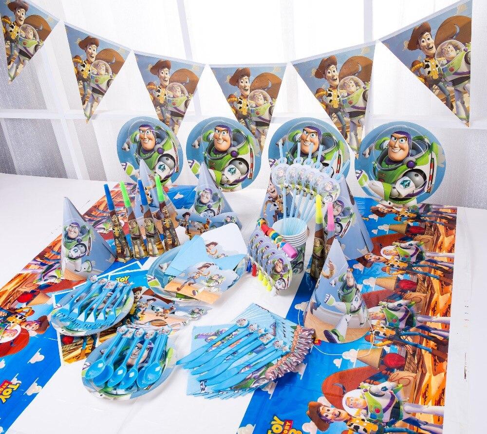 Feliz aniversário crianças brinquedo história chá de fraldas festa de casamento festa decoração conjunto banner descartável conjunto de utensílios de mesa placas fornecedores