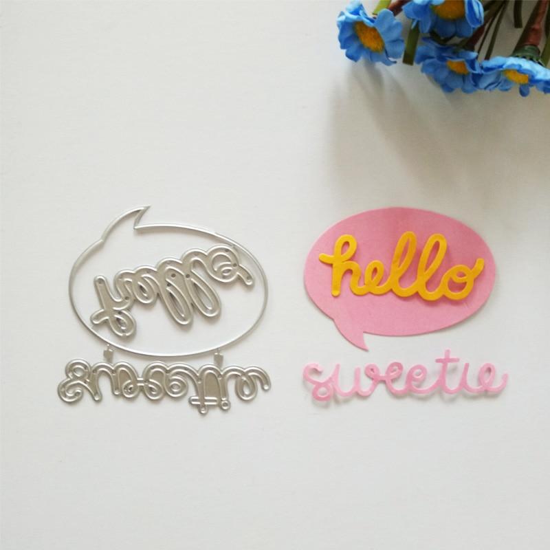 Letras hello, troqueles de corte de metal, letras artesanales, patrón de agradecimiento, álbum de recortes repujado, tarjetas de festival