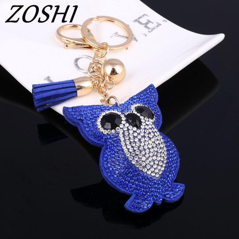 Gold Keychain Rhinestone Owl Womens Bags Key Ring Handmade Accrssories Keychains Pendants Charming Suspension Decoration