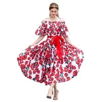 high quality womens dress 2019 new sweet flower printing sling fungus elastic high waist large swing dress female spring summer