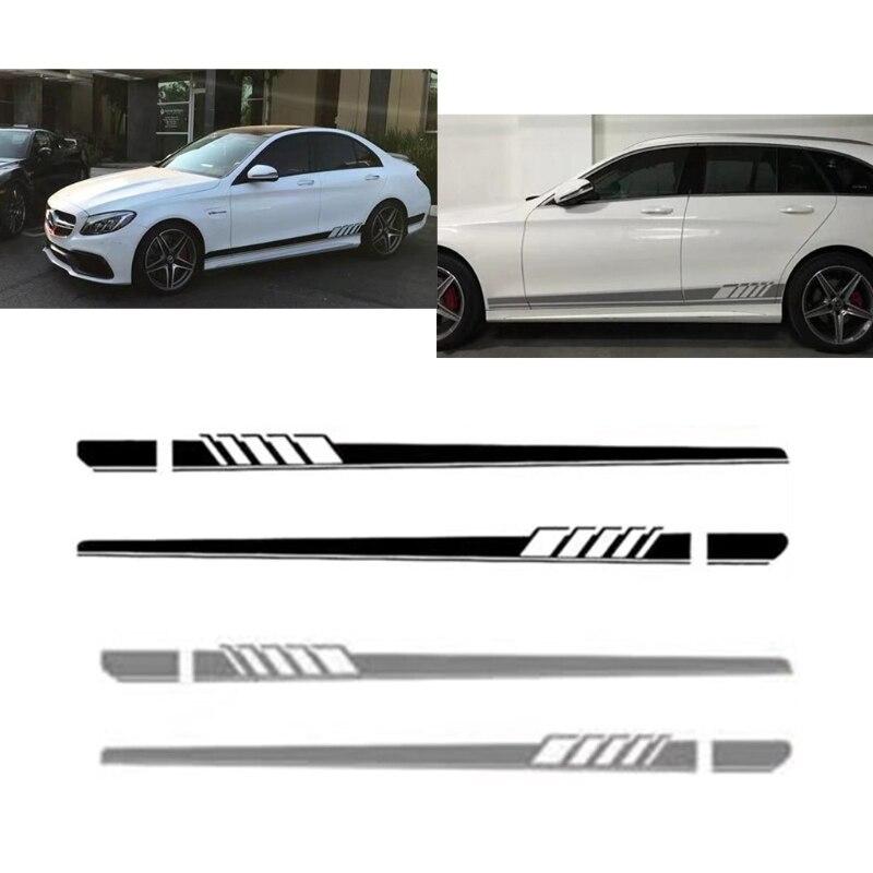 Kostenlose lieferung Auto Aufkleber Racing Streifen Körper Side Rock Für Benz C Klasse W205 AMG Edition 507 neue