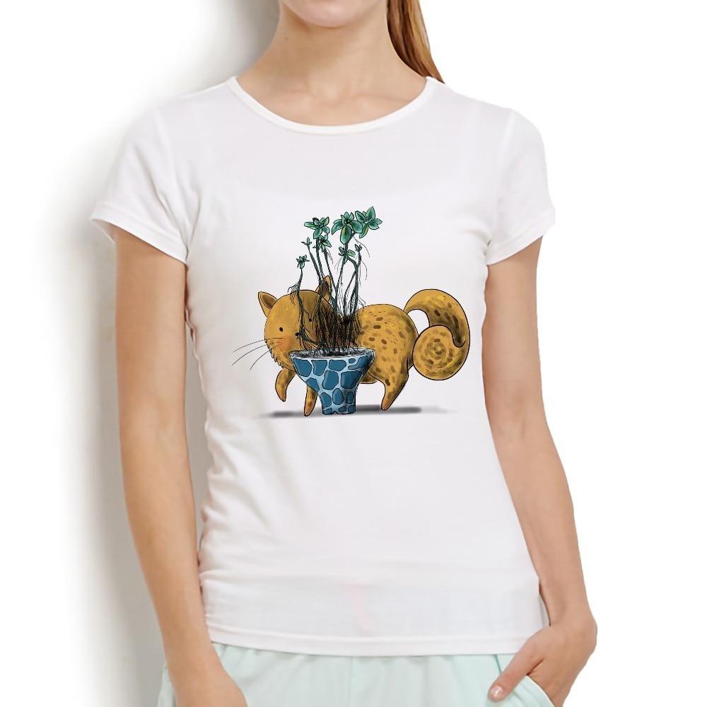 Camiseta Linda acuarela gato y suculentas mujeres 2018 blanco nuevo pantalón corto casual manga o-cuello kawaii meow femme camiseta