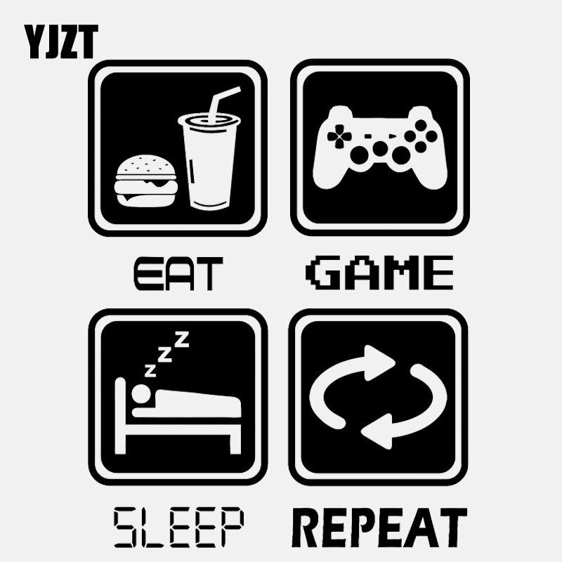 YJZT 14.1CM*18CM Funny REPEAT EAT SLEEP GAME  Vinyl Motorcycle  Car Sticker C22-0283