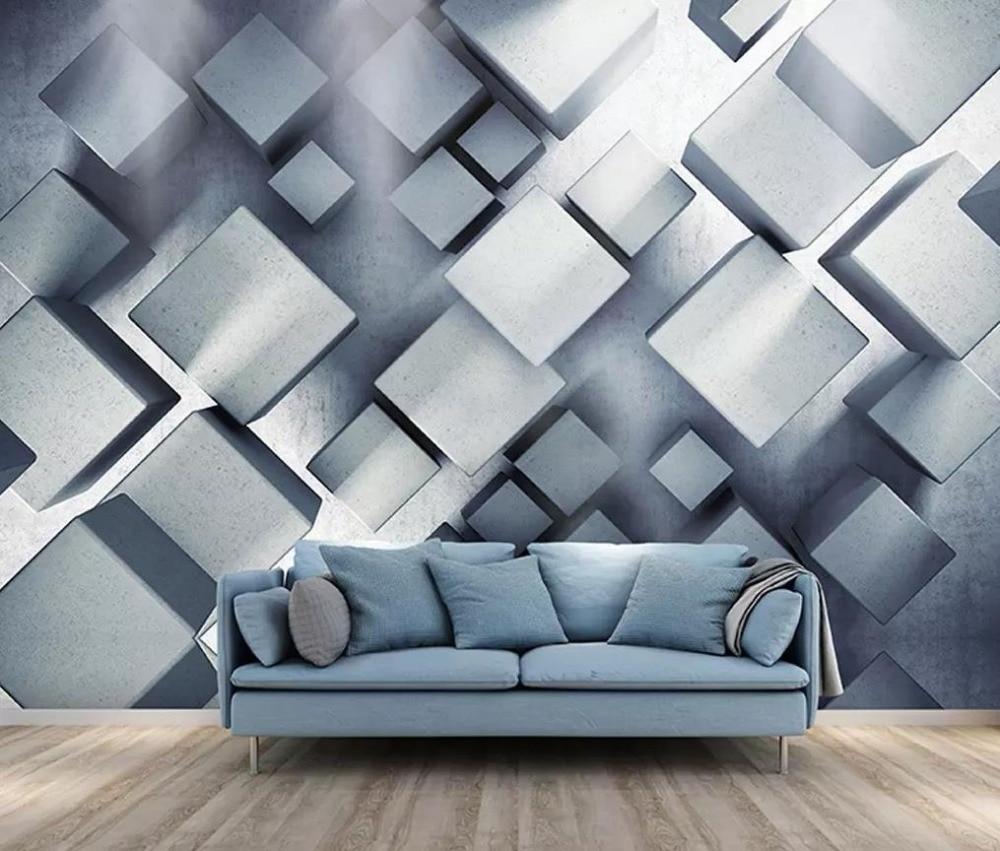 Papel pintado personalizado cuadrado cúbico 55 geometría 3D pared artística abstracta moderna Mural para decoración de pared de salón