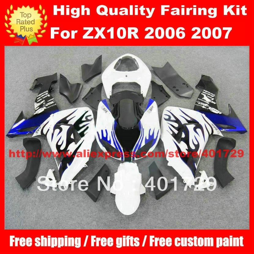 ABS Plastic fairing kit for Ninja ZX10R ZX-10R 2006 2007 ZX10 06 07 fairing set mix color free heatshield