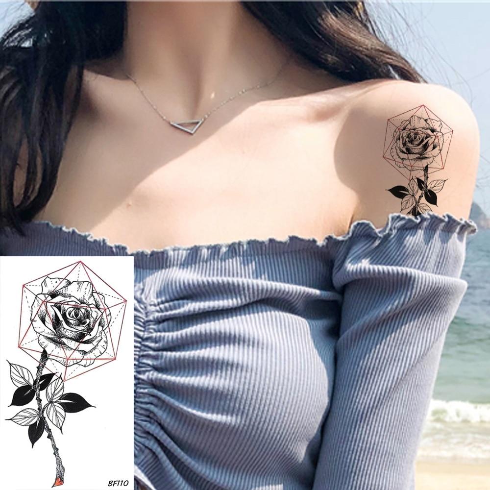 VANKIRS Sexy negro tatuaje pegatina mujer pecho brazo geométrico Rosa tatuaje temporal hoja Floral resistente al agua Tatoos cuerpo tobillo pasta