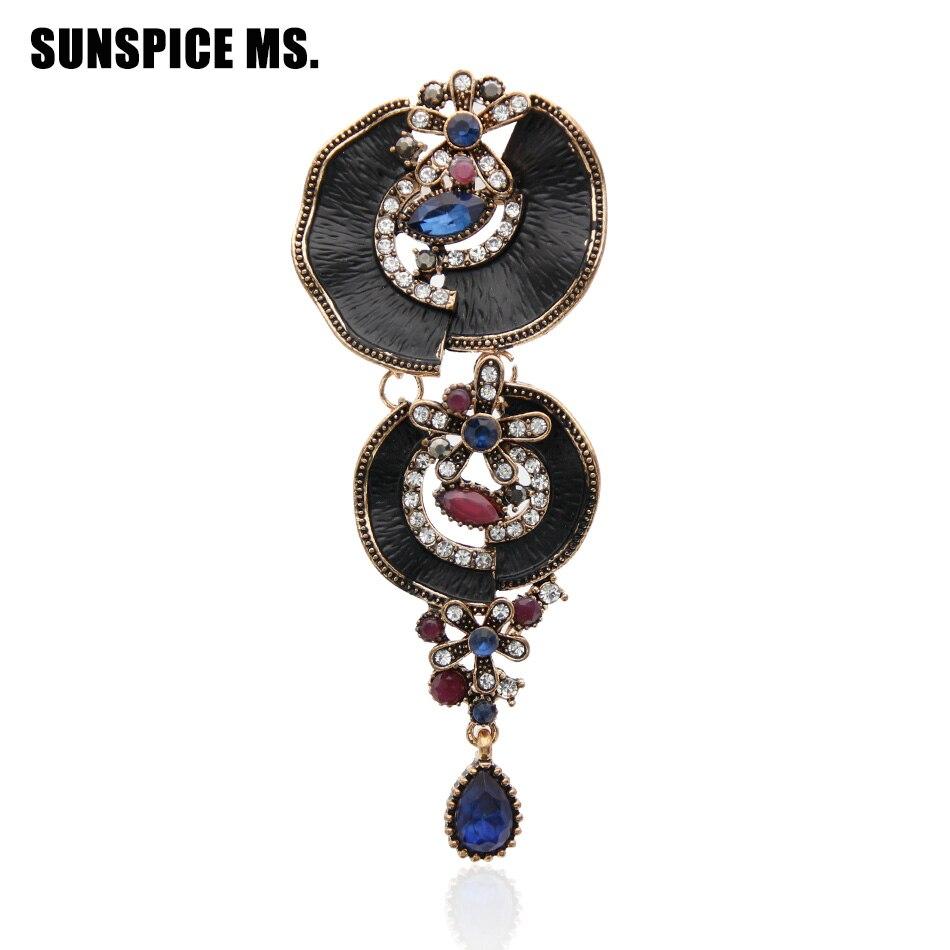Brand Design Turkse Vrouwen Lange Drop Bloem Vintage Broche Pin Anique Gold Kleur Hars Zwarte Verf Sieraden Etnische Enamel Broches