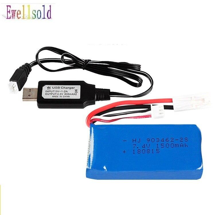 Ewellsold 7,4 V 1500 mAh/2800 MAH Lipo batería/cargador USB para FT009 barco RC lancha 12428 batería Lipo 2S 7,4 mah 1500 V 2S