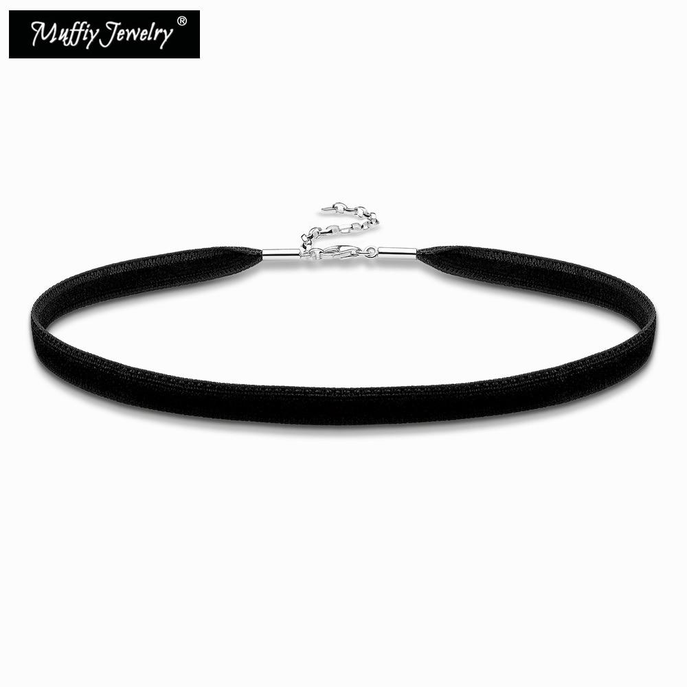 Collar de gargantilla de cinta de terciopelo negro, estilo europeo bonito, joyería de regalo de moda 2018 en plata de ley 925 para mujeres y niñas