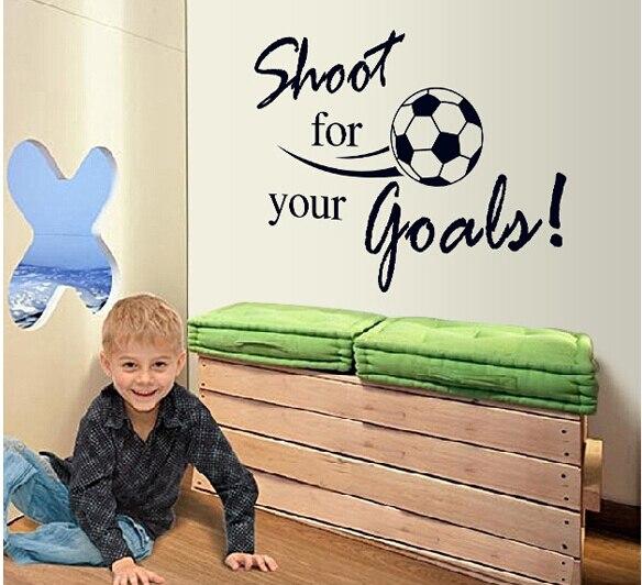 Alta calidad Shoot for Your Goals decoración de la habitación de los niños 8273 pegatinas de pared adhesivos de fútbol para pared pegatina decoración del hogar