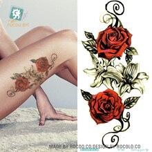 QC-667Hot vente longue colorée haute Solution Art corporel rouge Rose fleurs cercle conception temporaire faux Flash Tatoo autocollant