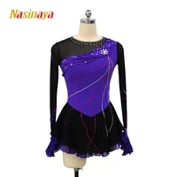 figure skating dress costume customized competition ice skating skirt for girl women kids black violet
