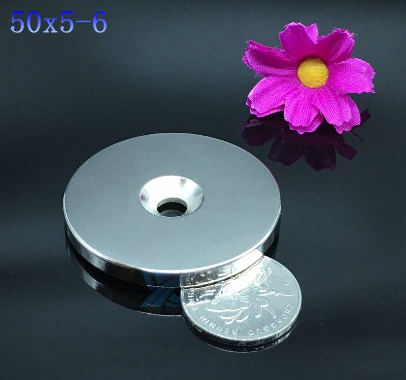 Неодимовый магнит, 50x5 мм, отверстие 6 мм, мощный редкоземельный Мощный круглый кольцевой постоянный магнит 50*5-6 мм