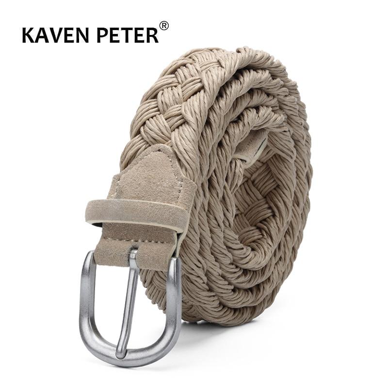 Cinturón tejido de piel de ante para hombre con correa trenzada de cera hebilla plateada antigua sin agujeros cinturones tejidos a mano de algodón Beige
