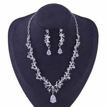 Classique fleur cristal ensemble de bijoux mariée collier pince boucles doreilles ensemble femme mariée femmes bijoux de mariage livraison directe