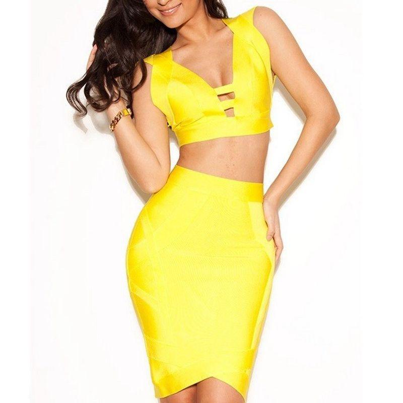 Amarela sem mangas Pescoço V Sexy Dois 2 Peça As Mulheres Se Vestem Escavar Bandage Vestidos de Cocktail Curto vestidos de Festa Bodycon Clube Vestidio