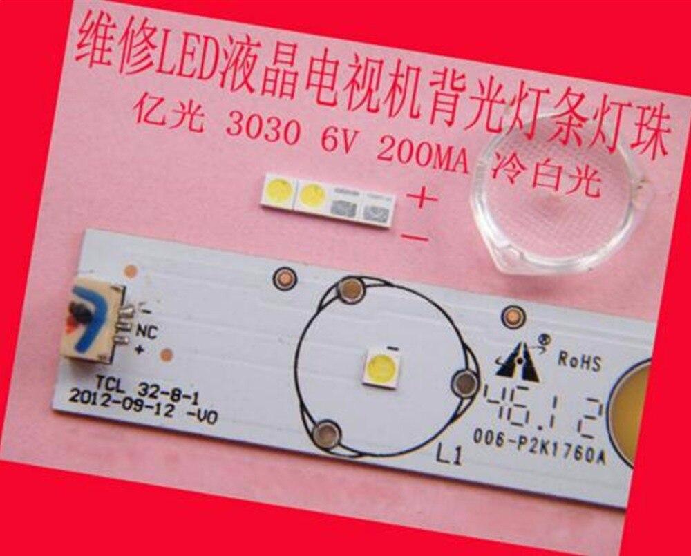 200 unid/lote para reparación LCD TCL TV LED retroiluminación artículo lámpara SMD LEDs 6V 3030 diodo emisor de luz blanca fría