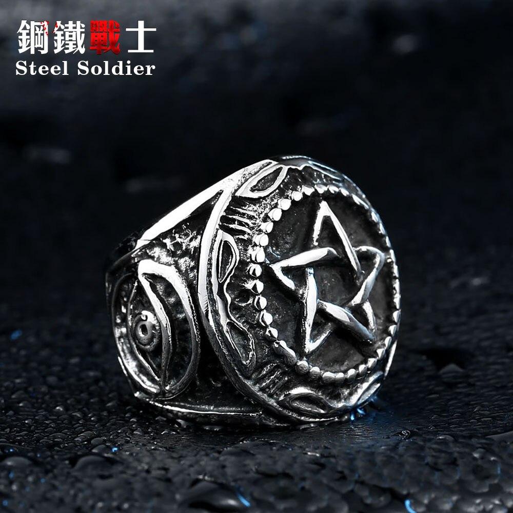 Мужское кольцо со стальным солдатом, кольцо из нержавеющей стали со звездочкой Давида, высокое качество, модные украшения для титановой стали