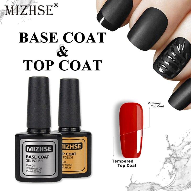 MIZHSE 10ML Tempered Top Coat No Wipe Top Rubber Base and Top For Nails UV Base And Top For Gel Varnish Soak Off Enamel Gel DIY