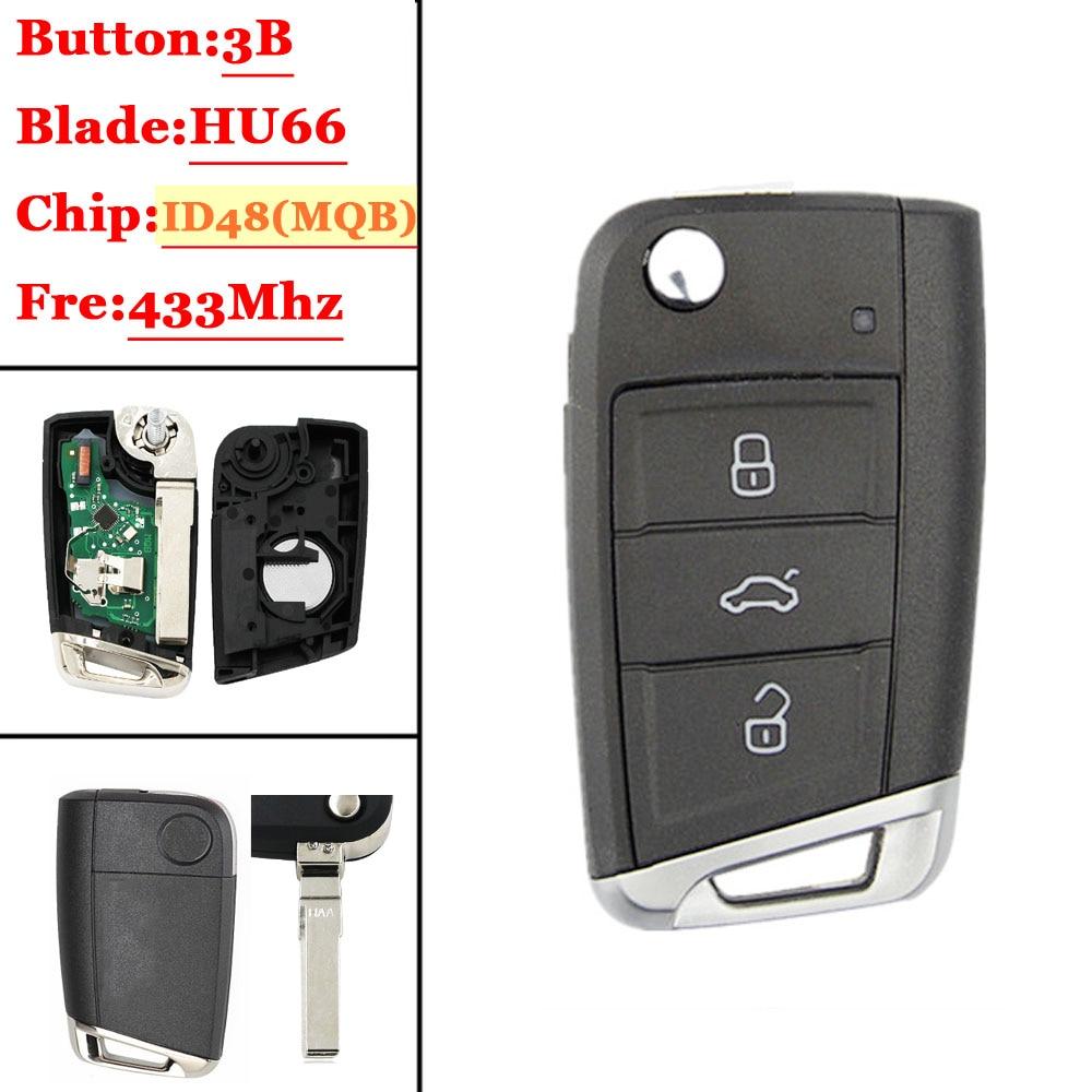 Flip remoto chave e chave escudo para 434 mhz hu66 sem corte lâmina para vw para volkswagen passat id48 chip tira cauda mqb universal