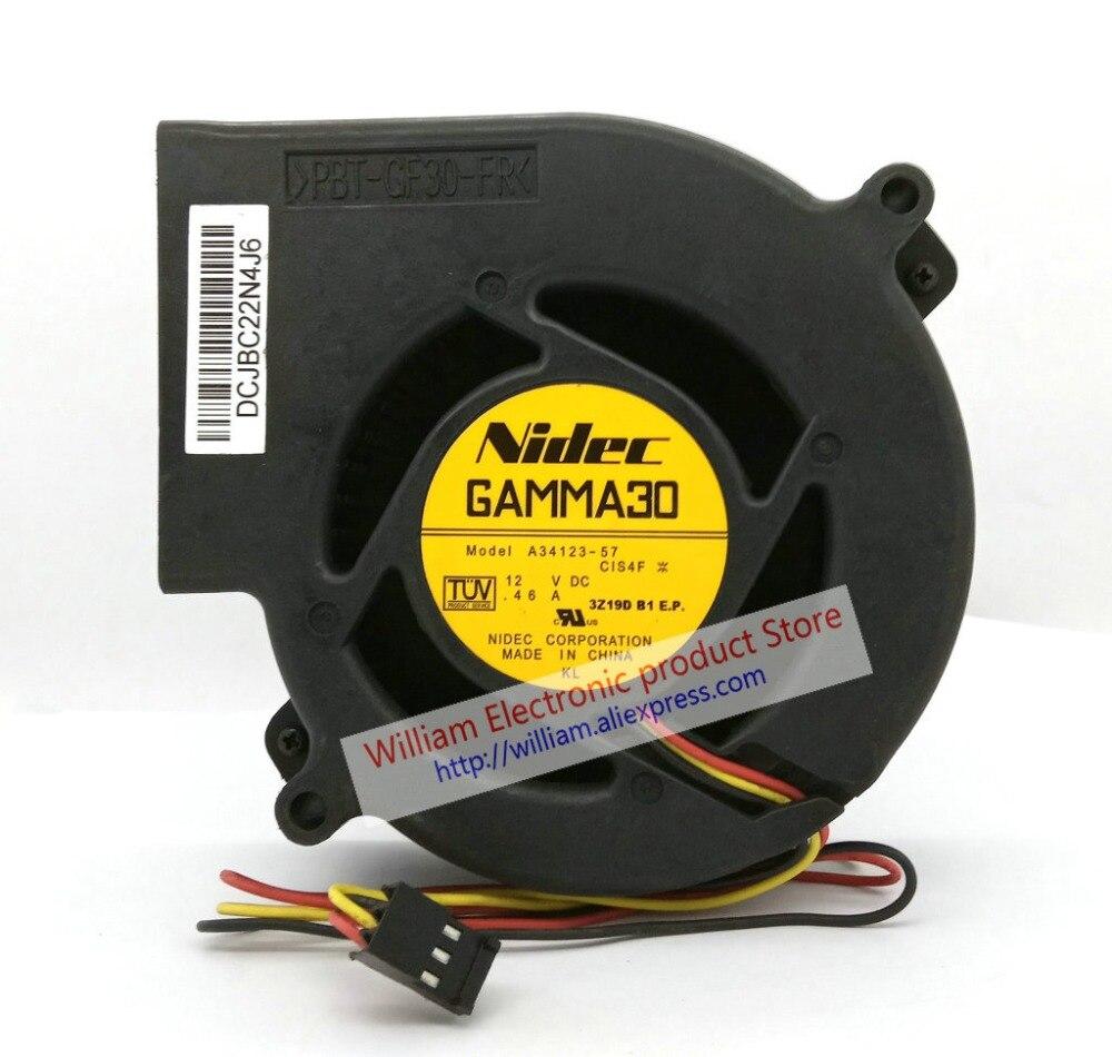 Original NIDEC GAMMA30 A34123-57 97 x linhas para WS-C2960 WS-C3550 33 MM DC12V 0.46A 3 HUB Switch Ventilador Ventilador de refrigeração