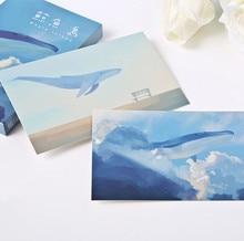 30 Uds. Postales de ballena Kawaii Hayao Miyazaki postal de pinturas al óleo tarjeta de felicitación de dibujos animados Linda Tarjeta de mensaje de cumpleaños Tarjeta de deseos regalo