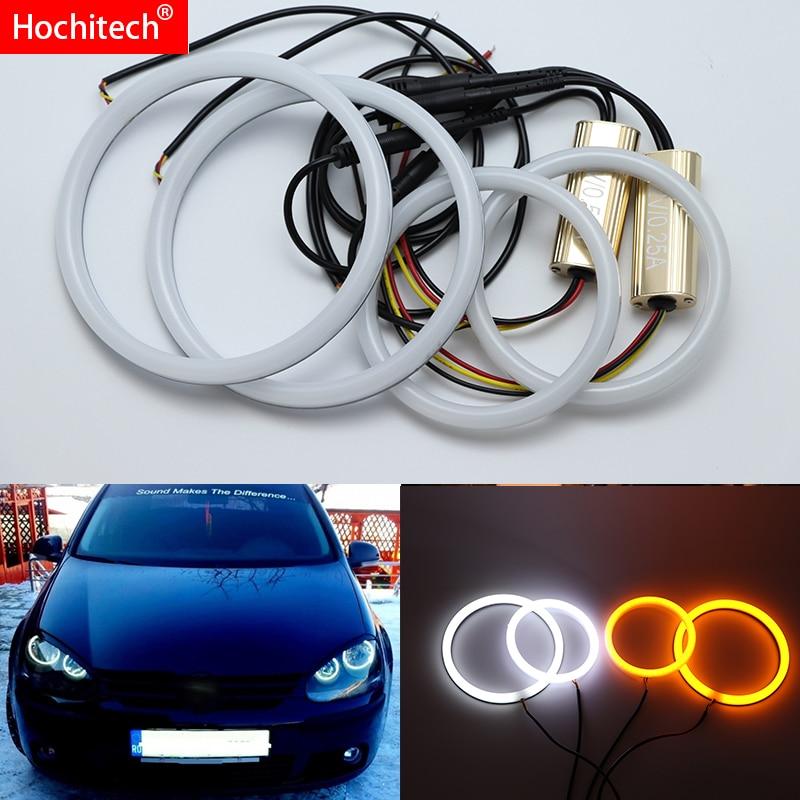 Для Volkswagen Golf 5 V MK5 2003-2009 белый и янтарный двухцветный хлопковый комплект светодиодов «глаза ангела» halo ring DRL указатель поворота