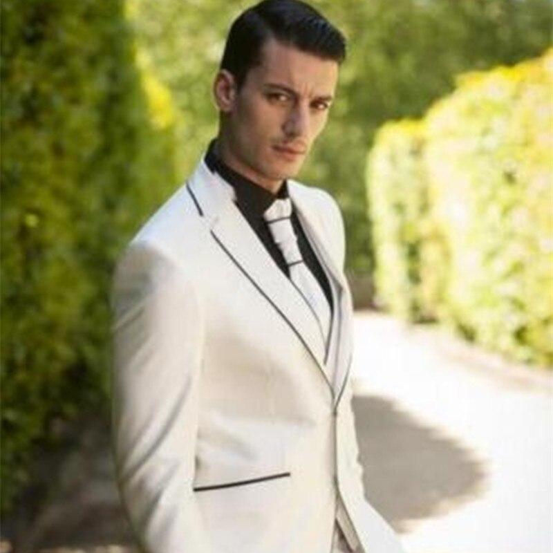 أسود الشق التلبيب الرجال الدعاوى الأبيض مخصص أوم مارياج العريس الزفاف البدلات الرجال العلامة التجارية 2017 (سترة السراويل التعادل سترة)