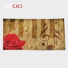 Serviette de bain/petite serviette Ultra douce   Serviette de bain Ultra douce personnalisée, Notes musicales Vintage avec Roses Vintage, murale rouge marron imprimée