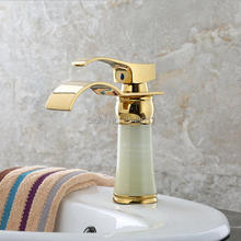 GIZERO robinets de mélangeur de cascade   Salle de bains, robinets dorés bassin en pierre de marbre évier de bateau Torneira Banheiro ZR803