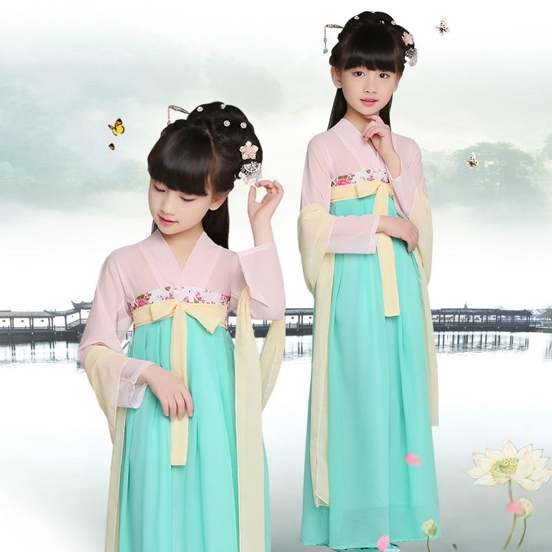 Vestido de princesa para niños, traje chino de satén, ropa de Hanfu para niños, ropa tradicional china, traje Tang 18