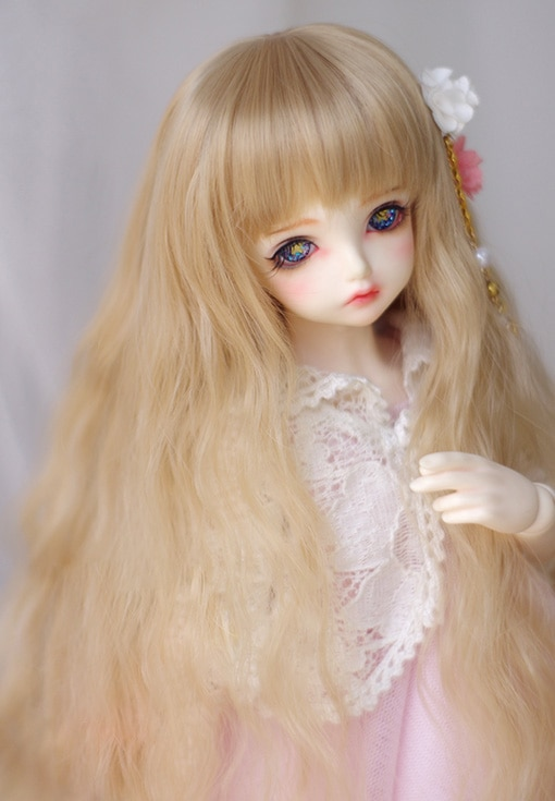 BJD doll wigs keiskei golden long curly wigs for 1/3 1/4 1/6 1/8 BJD DD SD MSD YOSD doll High-temperature hair wigs