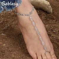 seblasy punk long statement hollow flowers anklets for women turkish tibet silver color foot jewelry femme bijoux sandal