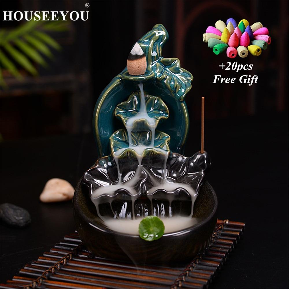 Cerámica acristalada verde calabaza de loto, cascadas, quemador de incienso, horno de reflujo, soporte de palillo, Aroma de incensario, fuente de humo, decoración para el hogar