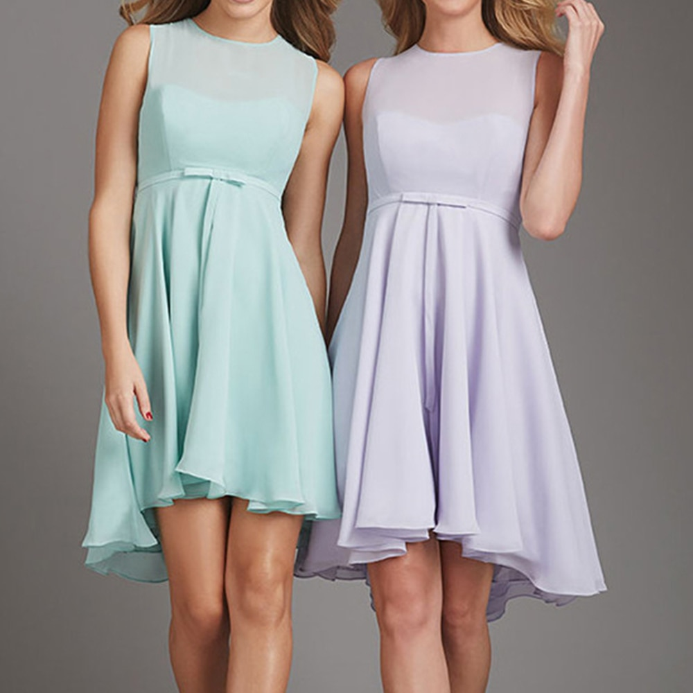 Mint Green Soft Chiffon Summer Wedding Party Gowns 2019 Knee Length A Line Short Bridesmaid Dresses Cheap Maid Of Honor Dress