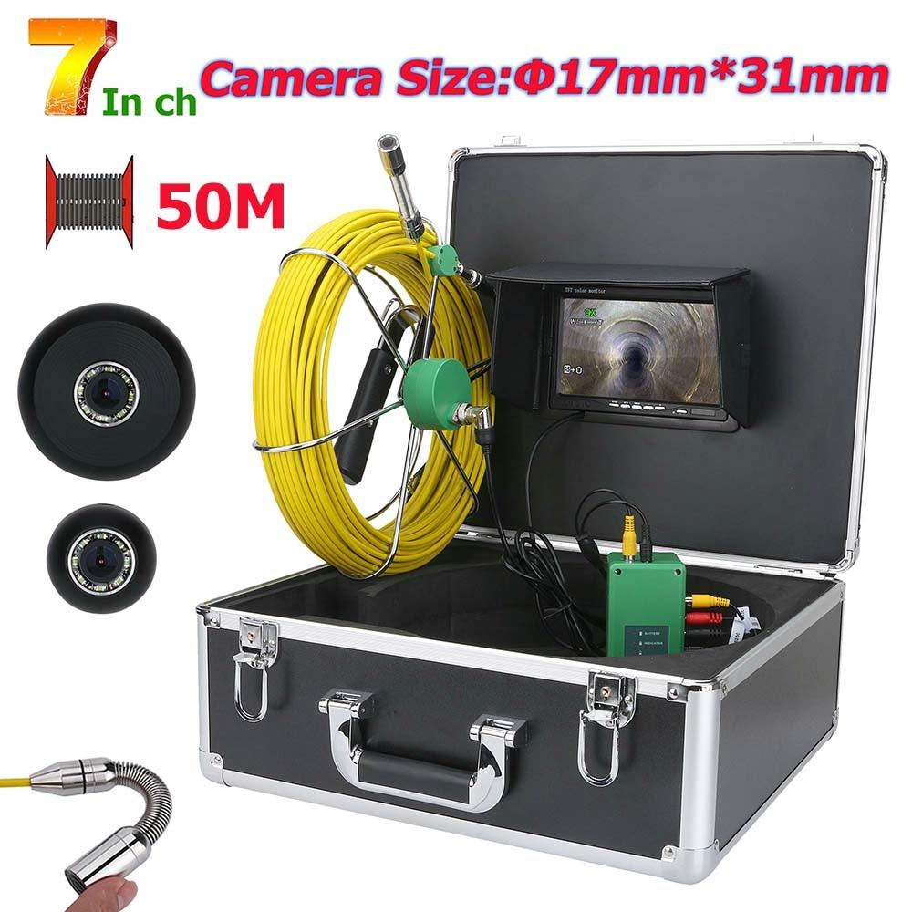 MOUNTAINONE 7 pulgadas HD 17mm tubería de alcantarillado cámara de video de inspección tubo de desagüe sistema de cámara de inspección 1000 TVL 20M 30M 40M 50M