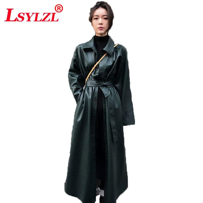 Faux cuero PU abrigo Trenca largo para las mujeres rompevientos primavera negro solo pecho fajas 2018 ropa nueva Casual B897