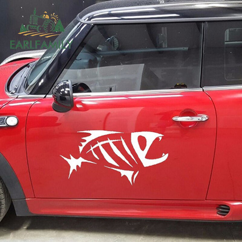 EARLFAMILY divertido feroz piraña BIOLÓGICA MARINA adhesivos artísticos para coche etiqueta engomada del coche para SUV Canoa Kayak etiqueta de vinilo de 9 colores