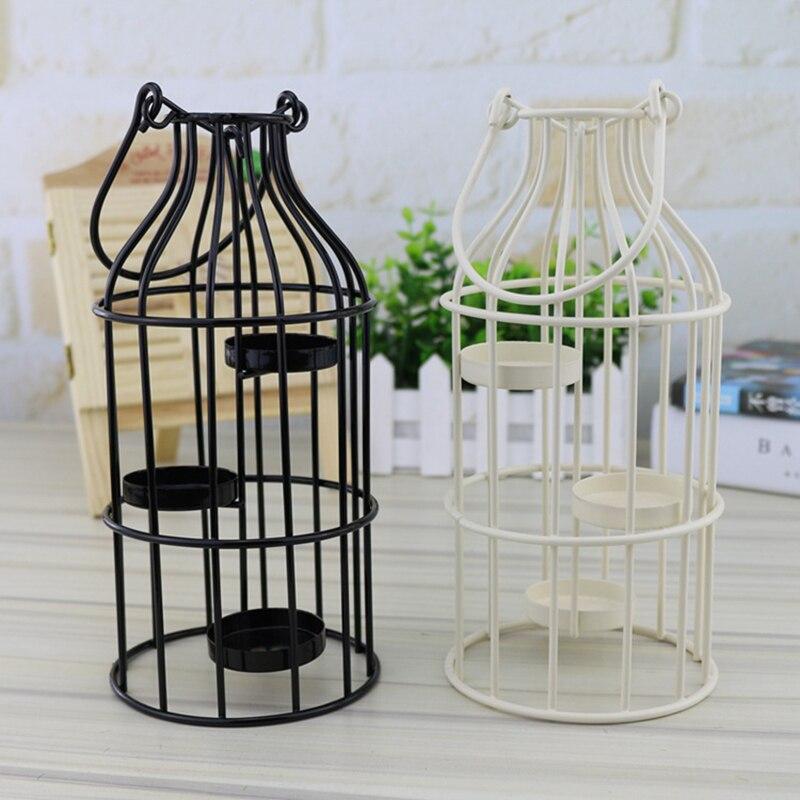 De Metal farol colgante para candelero votivo pájaro jaula titular de la vela adornos hogar año de nuevo de boda decoración regalos colgantes manualidades