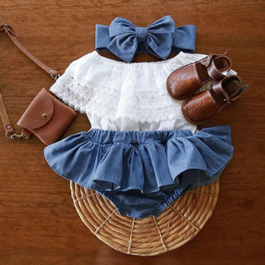 Одежда для новорожденных девочек, милый кружевной топ с оборками + джинсовые шорты, платье + повязка на голову, наряды, летняя одежда для мале...