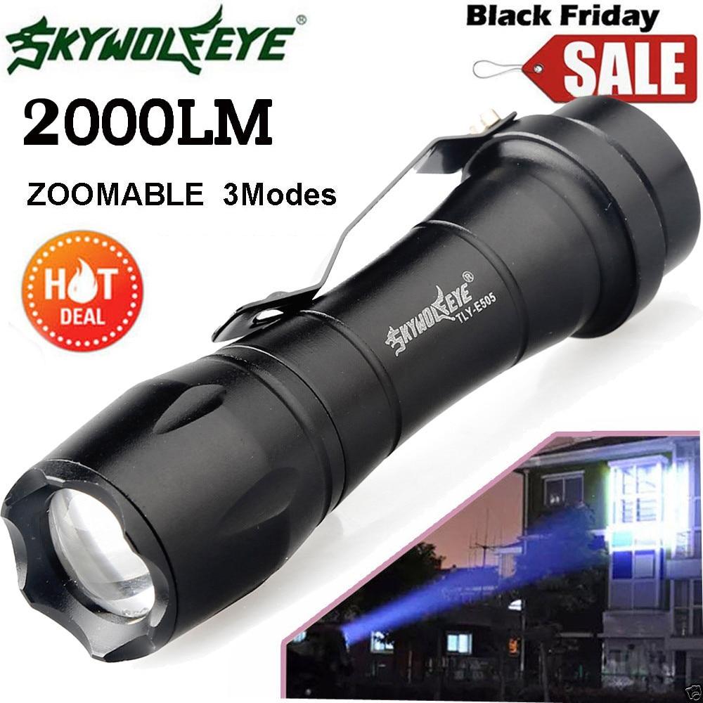 Super 2000lm cree q5 aa/14500 3 modo zoom led super brilhante lanterna mini polícia tocha 170118